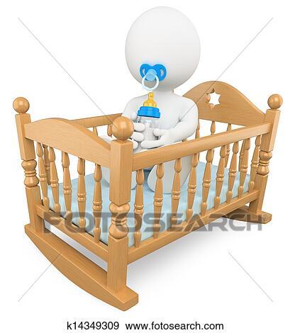 Stock Illustration 3d Weiß Leute Baby In Dass Kinderbett