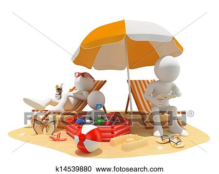 3d White People Family At The Beach Clipart K14539880 Fotosearch