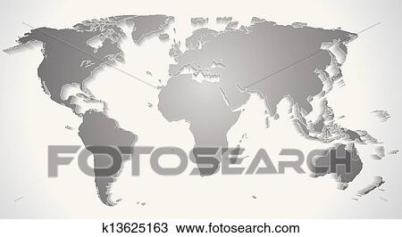 Clipart of 3d world map silhouette vector graphics k13625163 3d world map silhouette vector graphics gumiabroncs Images