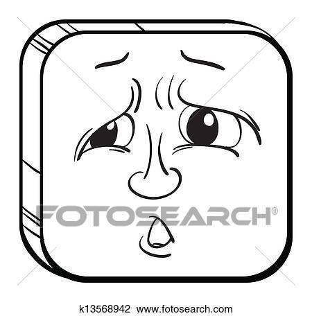 A 悲しい 顔 クリップアート切り張りイラスト絵画集