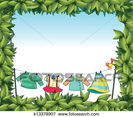 Clip Art of A frame border with hanging clothes and a bird k13378907 ...