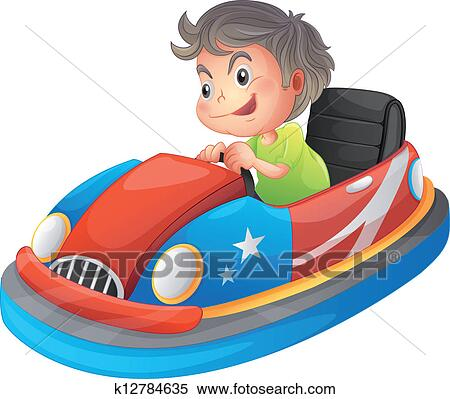 A jeune gar on quitation a auto tamponneuse clipart k12784635 fotosearch - Dessin auto tamponneuse ...