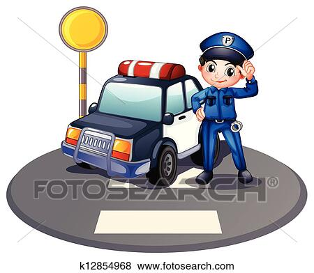 Clip Art Of A Patrol Car And The Policeman Near The Traffic Light