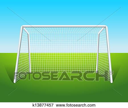 clip art of a soccer goal k13877457 search clipart illustration rh fotosearch com Soccer Player Clip Art soccer goal pictures clip art