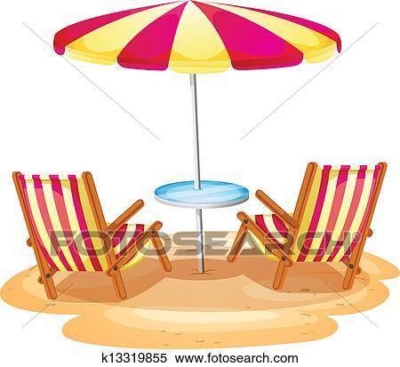 Sonnenschirm strand clipart  Clipart - a, streifen, sonnenschirm, und, dass, zwei, hölzern ...