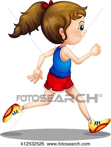 clip art of a young girl running k12532526 search clipart rh fotosearch com