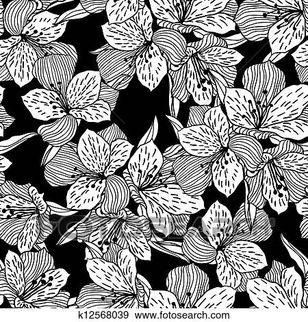 Abstract black seamless flower pattern with orchid. Clip ...