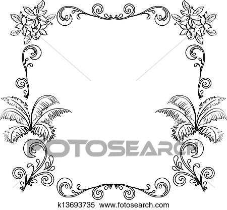 Abstract Floral Background Outline Clipart K13693735