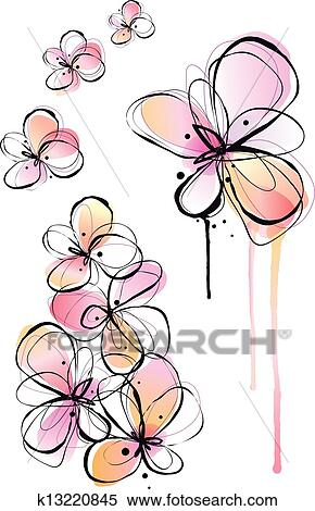 Abstract Flowers Ink Drawing And Watercolor Painting Vector Background