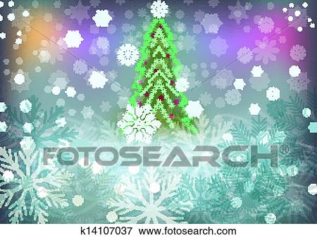 Christmas Trees Background Clipart.Abstract Winter Vector Background With Green Christmas Tree Clip Art