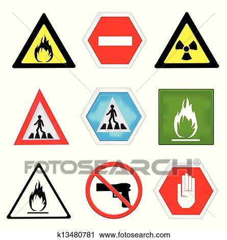 Clipart Achtung Symbole Satz K13480781 Suche Clip Art