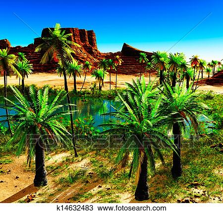 African Oasis Drawing K14632483 Fotosearch