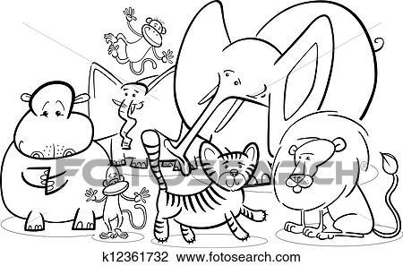 Clipart - africano, animales safari, caricatura, para, colorido ...
