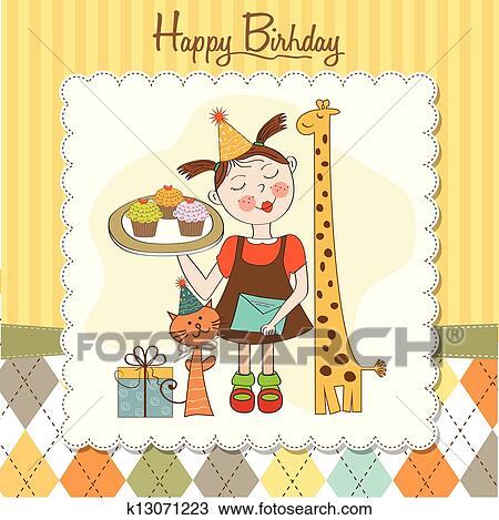 Clipart Alles Gute Geburtstag Karte Mit Lustig Madchen Tiere