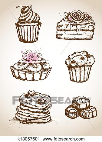 Altmodisch Hand Gezeichnet Kuchen Clipart K13057601