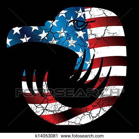 Clipart Of American Flag Eagle Head Vector Art K14053081 Search