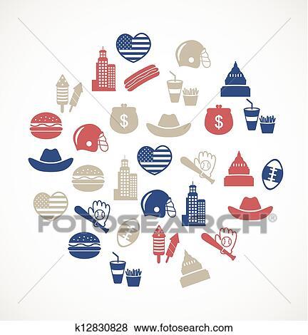 Clip Art Of American Symbols K12830828 Search Clipart