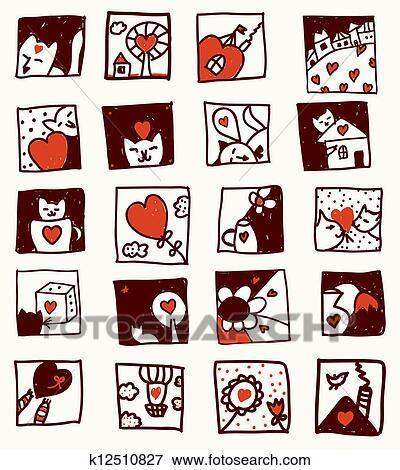 Clipart amour dessins anim s chats fleur maisons - Clipart amour ...