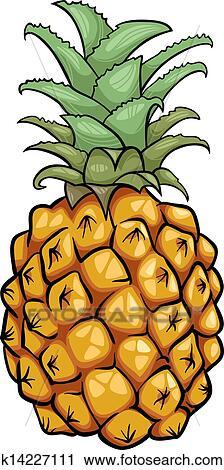 Ananas Fruit Dessin Animé Illustration Clipart