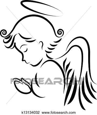 clipart of angel praying logo k13134032 search clip art rh fotosearch com baby angel clipart black and white angel clip art black and white silhouette