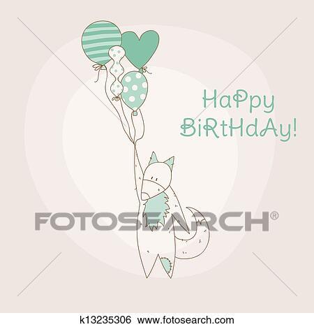 Aniversário Convite Cartão Com Bebê Raposa Em Vetorial Clipart