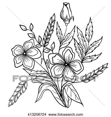 Arranjo De Flores Preto White Esboco Desenho De Linhas