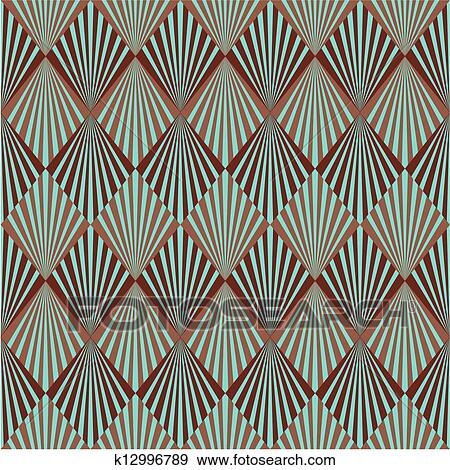 Seamless Golden Art Deco Pattern With Abstract
