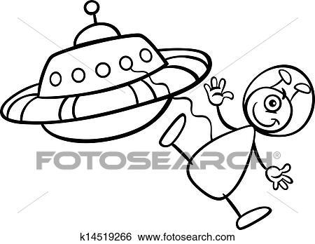 Clip Art Außerirdischer Mit Ufo Für Ausmalbilder K14519266