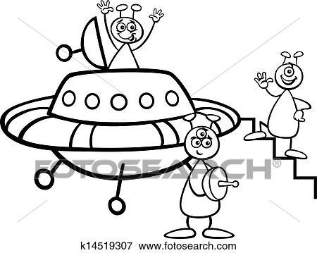 Clip Art Ausländer Mit Ufo Für Ausmalbilder K14519307 Suche