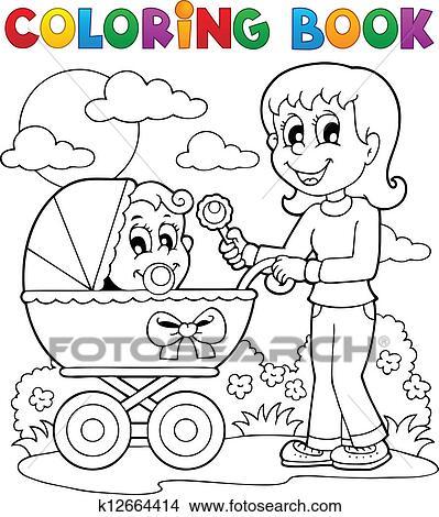 Clipart Ausmalbilder Baby Thema Bild 2 K12664414 Suche Clip