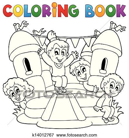 Ausmalbilder Kinder Spielen Thema 5 Clip Art