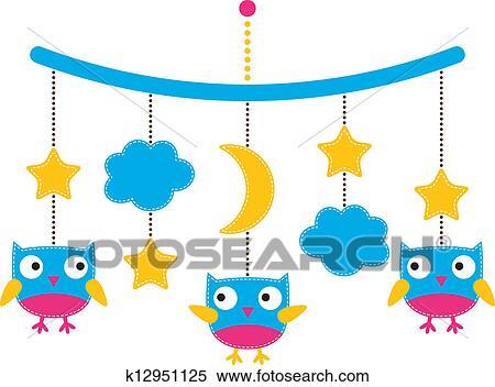 Clipart Baby Ankunft Oder Dusche Karte Kinderbett Beweglich