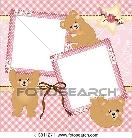 Clipart of Baby girl photo frame k13811271 - Search Clip Art ...