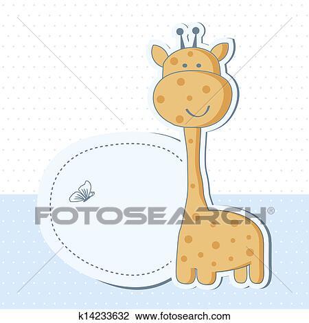 Clipart Baby Junge Dusche Karte Mit Niedlich Giraffe