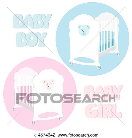 Clipart Baby Kinderbett K14574342 Suche Clip Art Illustration