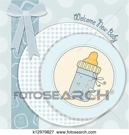 Baby Shower Card With Bottle Milk Clip Art K12979827 Fotosearch