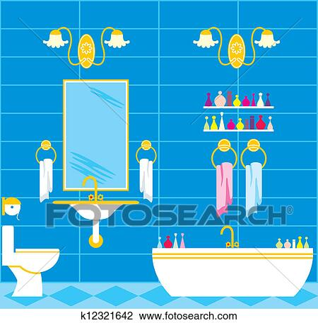 Clipart - badezimmer k12321642 - Suche Clip Art, Illustration ...