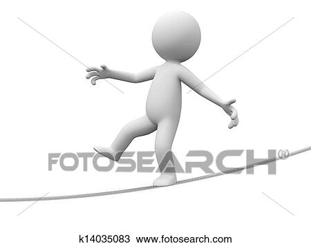 A 3d Person Walking On Balance Beam