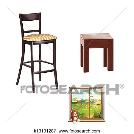 Surprising Bar Stool Chair Window With A Toy And Wooden Stool Isolated On White Background Stock Illustration Ncnpc Chair Design For Home Ncnpcorg