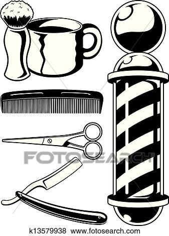 clip art of barber shop graphic elements k13579938 search clipart rh fotosearch com barber shop clipart black and white cartoon barber shop clipart