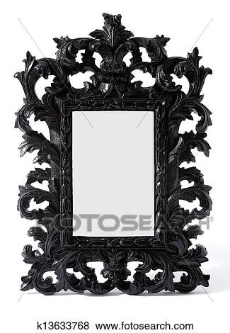 Pictures of Baroque black painted carved wood mirror frame k13633768 ...