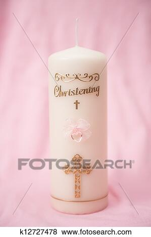 Battesimo Candela Con Rosa Dettaglio Archivio Fotografico