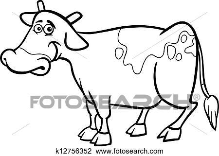 Clipart Bauernhof Kuh Karikatur Für Ausmalbilder K12756352