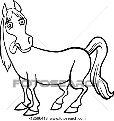 Clipart Bauernhof Pferd Karikatur Für Ausmalbilder K12596413