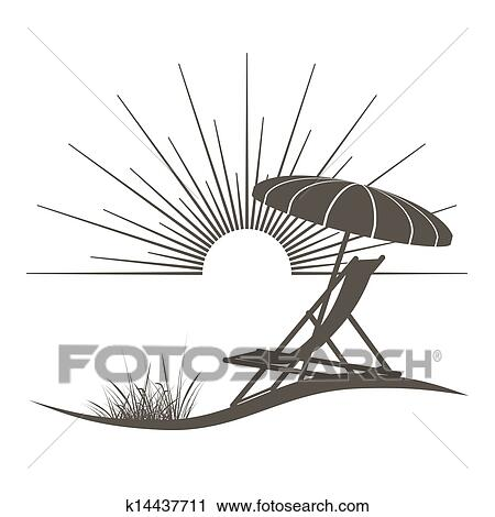 Clipart Of Beach Chair And Sunshade Illustration With A Beautiful