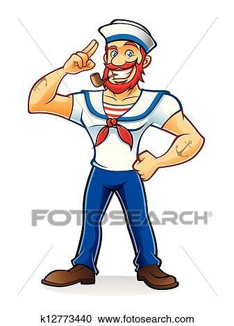 clipart of beard sailor k12773440 search clip art illustration rh fotosearch com sailor clipart silhouette sailor clipart silhouette