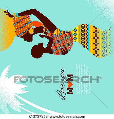 Carte De Fete Afrique.Beau Silhouette De Noir Africaine Mere Bebe Dans Retro Style Cartes De Fete Meres Heureuse Clipart