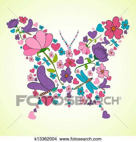 Clipart Of Beautiful Spring Flowers Butterfly Shape K13362004