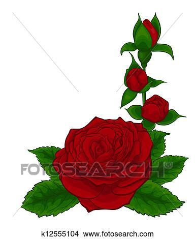 Clipart Bello Mazzolino Di Rose Rosse Decorativo Disegno