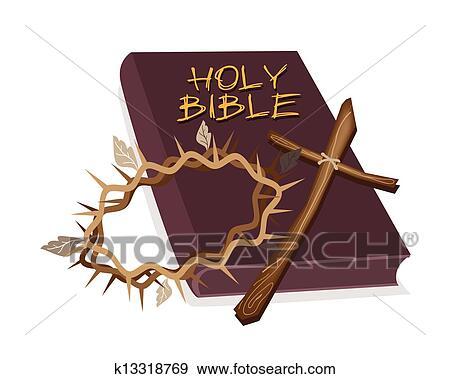 Biblia santa, con, de madera, cruz, y, corona, de, espina Clip Art |  k13318769 | Fotosearch